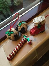 4 Sequinned Christmas Decorations
