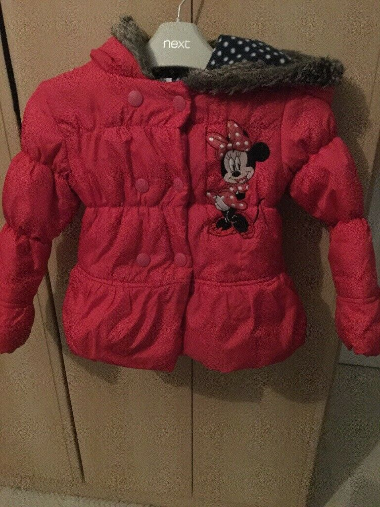 Girls Red Minnie Mouse Coat. Age 2-3 years