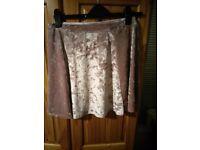 Dusky pink velvet river island skirt size 12