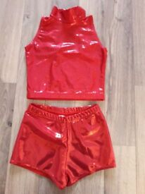 Girls 9-10 age leotard top and hot pants set