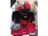 ICANDY Strawberry Pushchair with LOTS EXTRAS Carrycot / Car Seat / Footmuff / Parasol / Liner