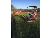 1.5 tonne kubota mini digger for hire