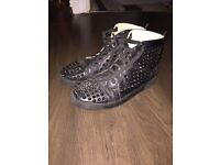 Christian Louboutin Men's High Black Spike Stud Trainers Shoes Size 8