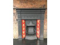 61 d Victorian antique cast iron fireplace