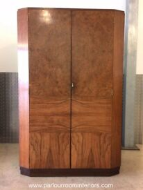 ART DECO WALNUT WARDROBE BY HILLE C.1930