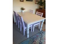 Large painted dining table and chairs