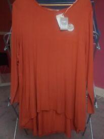 Woman's burnt orange tunic top, size 18, TU, New w/tags
