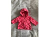 Baby girls next pink quilted coat age 3-6 months