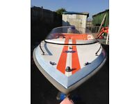 Semi speed boat 90cc engine good condition very reliable and safe newly refurbished with trailer