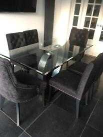 NEXT glass table and 6 Chairs