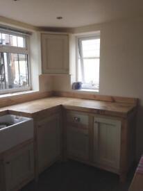 Freestanding solid wood kitchen run no sink