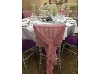 Chiavari Chair Hoods , ruffles, drapes. Wedding decoration