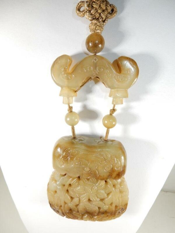 Antique Chinese jade amulet snuff bottle with jade yoke and cord