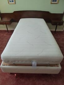 Electric bed & mattress, single, adjustable head and foot positions, all in excellent condition.