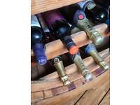 Wine rack, wooden half barrel