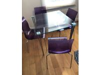Stylish John Lewis Glass Dining Table and 4 x Gel Chairs
