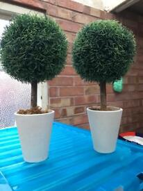 """14"""" tall faux topiary trees"""