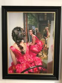 Robert Lenkiewicz Anna In a Pink Dress Giclee on canvas Limited Edition