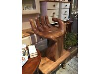 LARGE WOODEN HAND CHAIR SOLID HEAVY