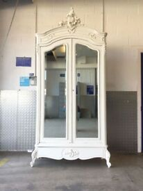 ANTIQUE FRENCH PAINTED ARMOIRE WARDROBE MIRRORED DOORS - £599 ONO