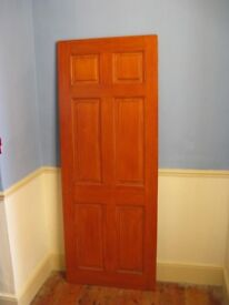 Internal solid pine door- six panel - stained and varnished