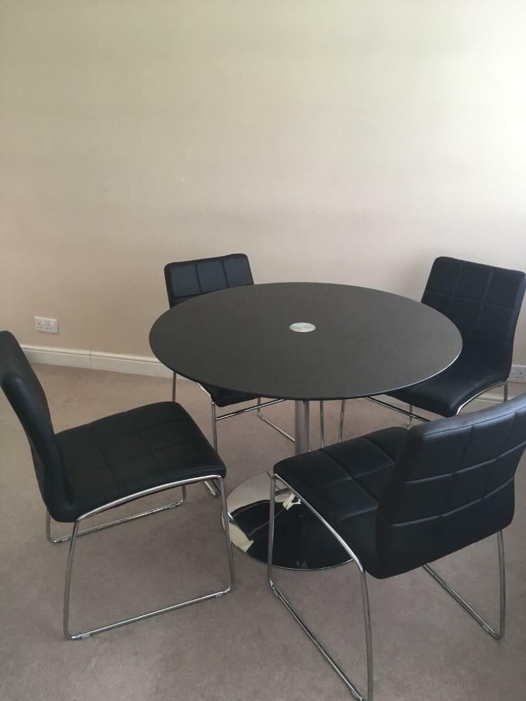 Black Glass Round Dining Table Chairs For Sale
