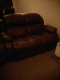 Brown leather reclining sofa and 2 recling chairs
