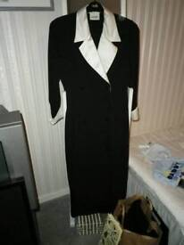 Principles dress black crepe coat dress with cream satin collar and cuffs size 10