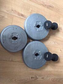 Fitness & Weights Set including X3 Set of Weights (6.5kg, 6.5kg & 4kg) plus X2 (2kg) Dumb bells