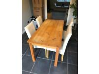 Dinning table and x4 faux chairs