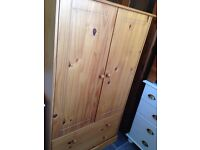 Pine 2 door 2 drawer child's wardrobe vgc