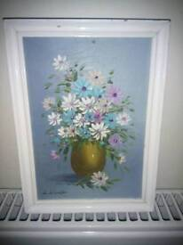 Still life frame vase with flowers in