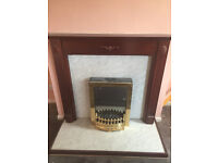 Electric Fire w/ wooden surround and marble effect backing