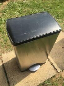 Large stainless foot pedal bin