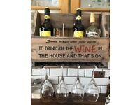Wooden Vintage wine rack, holds bottles and glasses