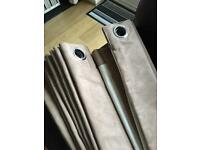 Blackout curtains - light brown - eyelet - suede effect