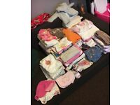 clothes rack for girls size 0-3 3-6 months about 200 pieces boots bibs caps....