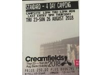 2 x Standard Camping Creamfields tickets