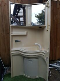 Caravan camper corner bathroom unit.