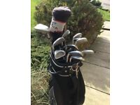 Golf clubs and bag. Suitable for beginners. 9 matching irons, a putter,driver and three wood.