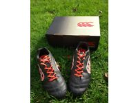 Canterbury Rugby Boots Size 5, Black/Fire, Stampede Club, Good Used Condition
