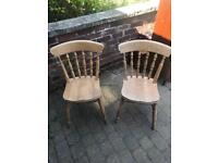 Pair spindle back farm house chairs