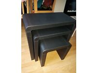 Black leather nest of tables