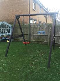 Twin garden swing set