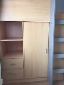 "Bed unit with wardrobe, desk and drawers. 178 cm (70"") x 94 cm (37"")."