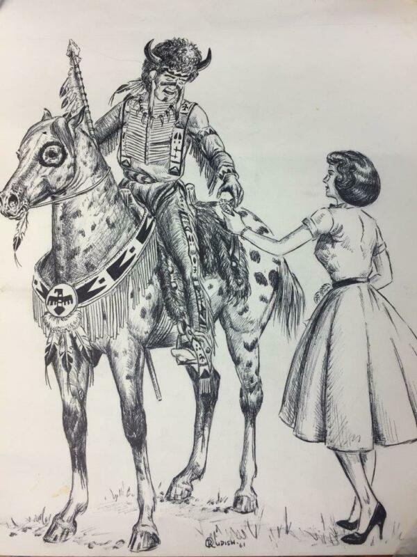 Vtg 1961 RICH RUDISH Orig Drawing Michigan Horsemans Magazine Illustration Horse