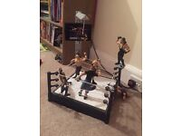 WWE wrestling ring and 6 figures
