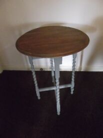 """Restored """"Shabby Chic"""" folding oak occasional table."""