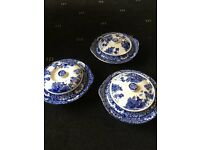 Olde Alton Ware vintage serving bowl dish blue & white x 3