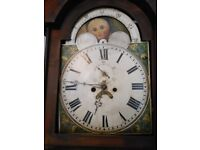 ANTIQUE OAK GRANDFATHER CLOCK FOR RESTORATION NO BELL MOON PHASE